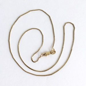 "Vintage 14K Gold Box Chain Necklace 15"" Dainty"